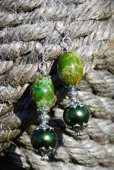 Western Rodeo Cowgirl Earrings  Green with by SolisOccasusBling