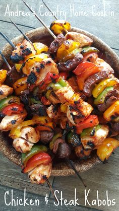 Chicken and Steak Kabobs - Andrea's Country Home Cookin Chicken Kabob Marinade, Grilled Chicken Kabobs, Steak Kabobs, Chicken Marinade Recipes, Chicken Steak, Kebab Recipes, Shrimp Kabobs, Chicken Seasoning, Barbecue