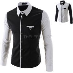 31593588649 Mens Colorblocked Contrast Dress Shirts Button Down Long Sleeved Casual Top  N325