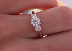 14k Rose Gold Over Three Stone Engagement Ring Round D/VVS1 Diamond 1.1/5 Carat #giftjewelry22 #ThreeStoneRing