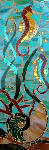 sea horse stained glass