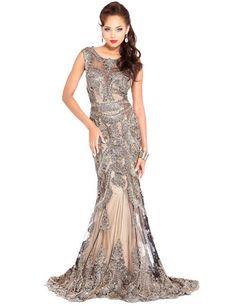 Shail K Bronze Evening Gown- US 12