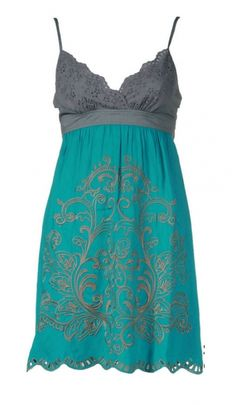 teal sundress, this would look great with some boots!