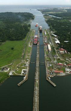 Miraflores Locks at the Panama Canal.