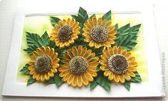 Картина панно рисунок Поделка изделие Поздравление Бумагопластика Квиллинг Мое солнышко Бумажные полосы фото 1