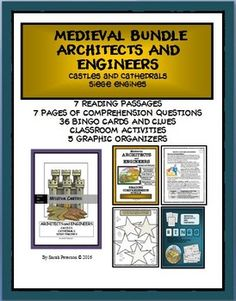 MEDIEVAL ARCHITECTS AND ENGINEERS This bundled product contains everything you need for your unit on Medieval Architects or Engineers.   This Bundle includes my three Medieval Architects and Engineers products: Careers ($5); Reading Comprehension ($4); Bingo ($4).  Get this bundled product for $9.00.  Grades 4-7 and Homeschool.  60 pages.