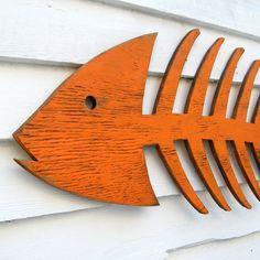 Segno di scheletro pesce pesce pesce di legno arte spiaggia