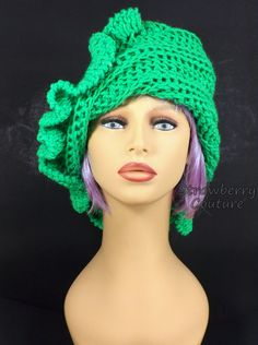 Green Neon Crochet Hat Womens Hat Ruffle Crochet Beanie Hat Neon Green Neon Hat Green Hat CYNTHIA Beanie Hat for Women 50.00 USD by #strawberrycouture on #Etsy - MUST SEE!