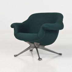 Angelo Mangiarotti; #1110 Aluminum Base Lounge Chair for Cassina, 1964.