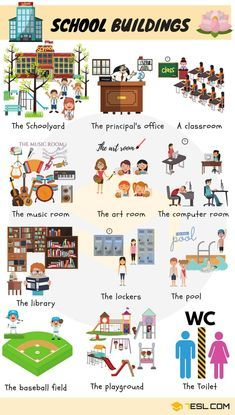 School building: school rooms and places in english ngôn ngữ English Lessons, English Words, English Grammar, Learn English, Vocabulary Building, Grammar And Vocabulary, English Vocabulary, English Language Learning, Teaching English