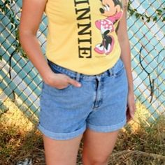 90s High Waisted Shorts Simple high waisted shorts, no frills about them! Cuff them as shown, unroll for more modest or turn them into cutoffs. Would best fit modern size 6. Vintage Shorts Jean Shorts