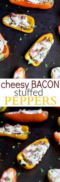 CHEESY BACON STUFFED PEPPERS, everything about this delicious appetizer is addicting! Perfect for the holidays! Top these little pepper bites with a dab of pepper jelly and I guarantee you'll be in a heaven!   joyfulhealthyeats.com #glutenfree