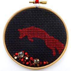 Jumping Fox 4 Embroidery by CraftDrawerUK on Etsy, £9.50