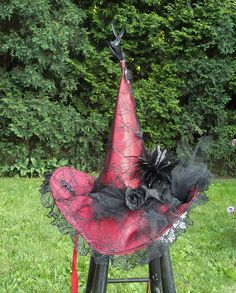 Witch Hat / Red Witch Hat / Halloween Decor / Halloween Costume / Witch Hat / By English Rose Designs Oh