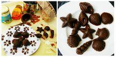 Jednoduché raw čokoládové bonbóny v tvare morských plodov.