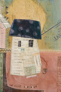 Oh Golly Gosh - Elaine Hughes - hand and machine stitched paper collages incorporating drawing, textiles and vintage ephemera