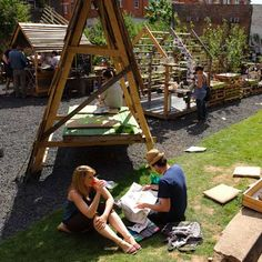 American landscape architect Heather Ring of the Wayward Plant Registry has transformed a disused site in Bankside, London, into a public garden with the introduction of apple trees, allotments,  a timber pavilion, and a table-tennis table in a skip.