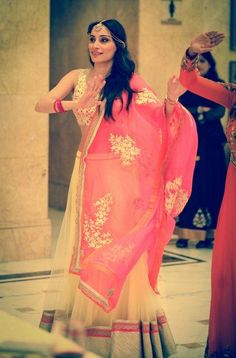 yellow and pink lehenga