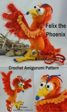 Felix the Phoenix is a crocheted amigurumi doll that would love to rise up from the ashes. You can create your own Flex the Phoenix with this downloadable pattern. #crochet #amigurumi #crochetdoll #ad #amigurumidoll #amigurumipattern #phoenix #instantdownload