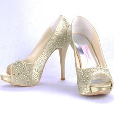"Dyeable Fashionable 5"" Studded with Rhinestones Peep-toe Pumps - Ivory Satin Wedding Shoes (11 colors)  Slip-on,Pumps,Block Heel,Ivory,White,Rhinestones,Peep-toe,Wedding,Satin Upper,Leatherette,Anti-skid Rubber Sole,  US$84.98"
