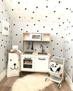 Kids Playroom With Black And Gold Polkadots