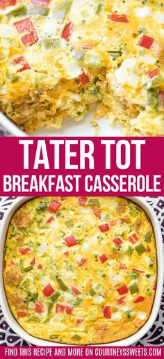 This Tater Tot Breakfast Casserole Has Super Creamy Eggs, Bacon And 2 Kinds Of Cheese! It's Easy To Make Ahead Of Time And Is Perfectly Freezer-friendly!. Breakfast Tator Tot Casserole, Vegetarian Breakfast Casserole, Veggie Casserole, Easy Casserole Recipes, Broccoli Casserole, Easy Brunch Recipes, Breakfast Recipes, Creamy Eggs, Advocare