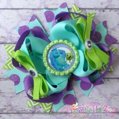 Monster's Inc. Stacked Boutique Hair Bow  Aqua by PixiePretties, $9.99