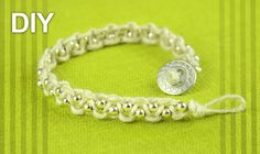 Easy Macrame Bracelet with Beads and Button Clasp - Tutorial. Nice and easy beaded bracelet with button clasp. Very inexpensive way to make your own bracelet! You only need to know square knot. See more beaded bracelets in playlist: . Hemp Jewelry, Macrame Jewelry, Macrame Bracelets, Jewelry Crafts, Macrame Necklace, Jewellery, Square Knot Bracelets, Diy Bracelets Easy, Macrame Bracelet Tutorial