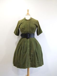 1950s Corduroy Dress Vintage 50s Green Full Skirt Dress by RedsThreadsVintage, $45.00