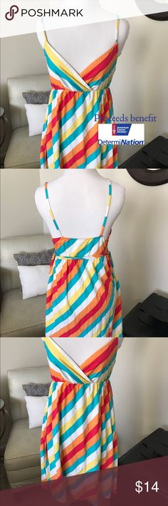 Multicolored Striped Spaghetti Strap Summer Dress Super casual Cotton dress. Great for beach vacations and summer days. Yellow/orange/blue/red/white stripe. Super fun! Dresses