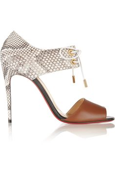 Christian Louboutin Mayerling 100 Leather And Python Sandals - Brown - ShopStyle Lace Up Sandals, Lace Up Shoes, Me Too Shoes, Women Sandals, Shoes Sandals, Heeled Sandals, Shoes Women, Mode Shoes, Cl Shoes