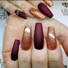 Matte burgundy and copper glitter nails