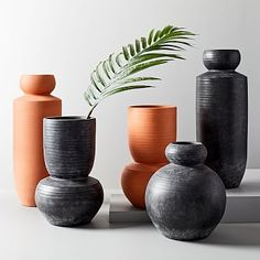 Rounded Terracotta Floor Vases | west elm