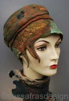 """Rusty"" Fiber art by Claudia Burkhardt Felt Hat, Wool Felt, Headdress, Headpiece, Techniques Couture, Animal Hats, Felting Tutorials, Love Hat, Nuno Felting"