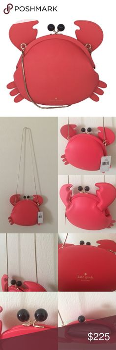 """SALE NWT Kate Spade Crab Crossbody Make a Splash BNWT AUTHENTIC never used Kate Spade Crab Crossbody Purse. All photos except first photo are of exact item. Geranium red. Genuine leather with 14k gold plated hardware and navy signature lining interior. Interior slip pocket. Black eyes are snap clamshell enclosure. Dimensions: 8"""" x 8.5"""" x 2"""" approximately 20"""" chain drop. Style # WKRU3807 ❌NO TRADES, NO LOWBALLING❌ kate spade Bags Crossbody Bags"""