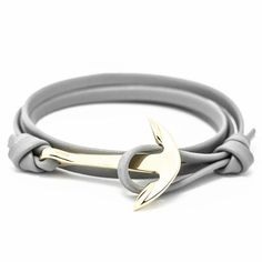Retro Bracelets Silver Plated 40 cm Leather Anchor