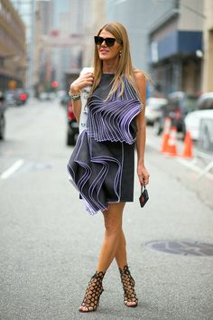 New York Spring 2015 Street Style - Street Style - Harper's BAZAAR = Anna Dello Russo in Christopher Kane