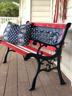 I replaced the wood and gave this bench a makeover. Painted Rug, Painted Chairs, Diy Upholstered Storage Bench, Solar Lantern Lights, Yard Benches, Cast Iron Bench, Outdoor Sofa, Outdoor Decor, Outdoor Spaces