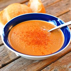 This creamy, pureed curry roasted red pepper and eggplant soup is healthy and full of flavor. Perfect for dipping with bread or sandwiches.
