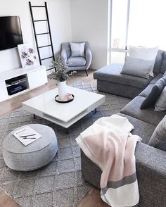 Simple And Small Living Room Designs With Modern Interior - Living Room Grey, Small Living Rooms, Home Living Room, Apartment Living, Living Room Designs, Living Room Decor, Living Room Inspiration, Interior Design, Room Interior