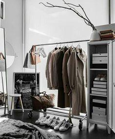 Trendy bedroom wardrobe grey home Industrial Bedroom, Industrial House, Industrial Apartment, Industrial Style, Minimal Apartment, Industrial Windows, Bedroom Rustic, Industrial Shelving, Industrial Farmhouse