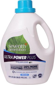 Seventh Generation Laundry Detergent Natural Free & Clear Ultra Power Plus -- 95 fl oz - Vitacost Seventh Generation Laundry Detergent, Natural Laundry Detergent, Calcium Chloride, Power Clean, Get The Job, Spray Bottle, Lupus Flare, Sensitive Skin, Cleaning Supplies