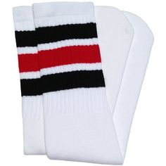 "Amazon.com : Skater Socks 19"" Mid calf White tube socks with Black-Red... ($13) ❤ liked on Polyvore featuring intimates, hosiery, socks, red tube socks, red stripe socks, mid calf socks, red sports socks and white socks"
