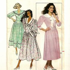 A Fitted, Below Calf Length, Flared Skirt, Drop Waist Dress Pattern with Collar Variations