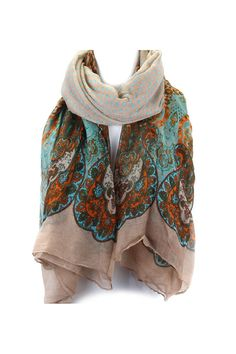 Mix of Polka Dots and Block Printed Paisley Scarf