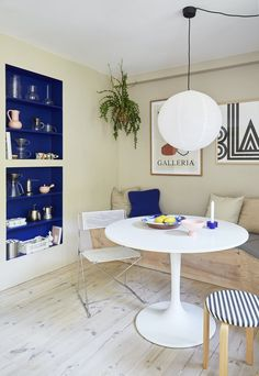 "Ikea ""Docksta"" dining table Dining Room, Dining Table, Beige Walls, Kitchenette, Blue Tones, Ikea, Interior, Furniture, Design"