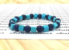 6mm Blue Turquoise Lapis Lazuli Gemstones Stretch Bracelet, Healing Chakra Yoga Mala Protection Scorpio Sagittarius Aquarius Pisces Bracelet by ArtGemStones on Etsy