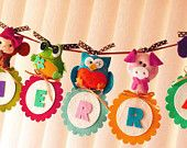 Personalized  Animal Parade NAME BANNER Hang Wall Art Custom Made Unique Banner Decor for Kids or Play Room,  Baby Nursery, Birthday Signage