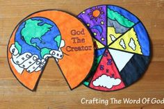 This Seven Days of Creation Wheel helps kids re-tell the Biblical creation story. Teach kids about the stories in the Bible with Sunday school crafts for kids like this amazing colored wheel that reminds kids of the stories they read. Sunday School Activities, Sunday School Lessons, Sunday School Crafts, Vbs Crafts, Church Crafts, Crafts For Kids, Creation Bible Crafts, Bible Story Crafts, Bible Stories