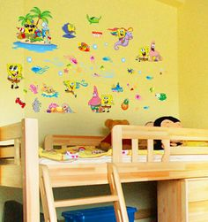 Free Shipping DIY removable 3d childrenu0027s room SpongeBob wall stickers